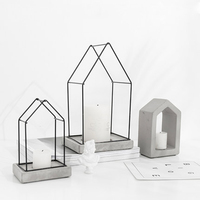 Modern Candle Holder Geometric House Wedding Centerpieces Candle Container Portavelas Metal Iron Lantern Big 3D Simple Menorah X