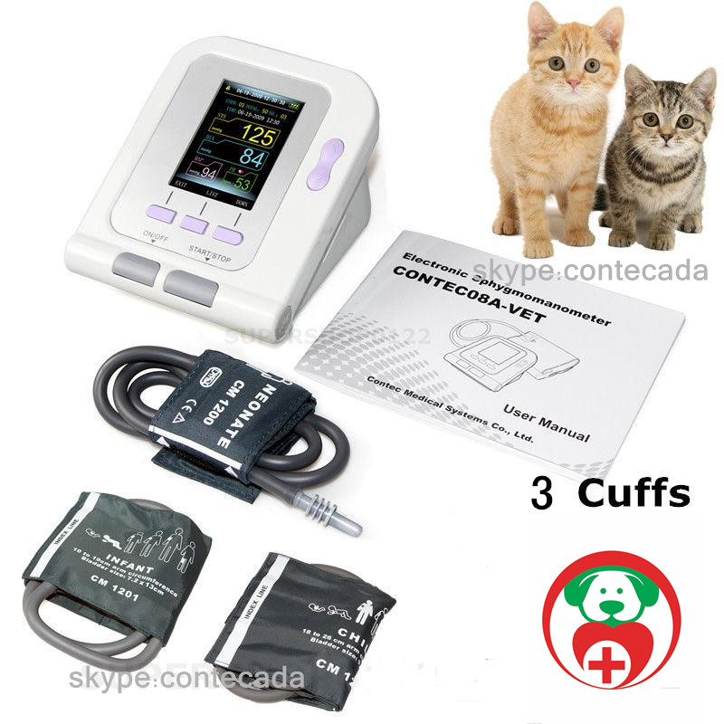 US veterinary 3 free cuffs Digital Blood Pressure Monitor Color LCD Display NIBP CONTEC08A-VET цена
