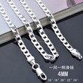 X83 barato al por mayor collar de cadena de plata 4 MM 16-24 pulgadas de La Manera Joyería de Los Hombres de Calidad Superior