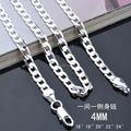X83 cheap wholesale silver chain necklace 4MM 16-24inches Fashion Men's Jewelry Top Quality