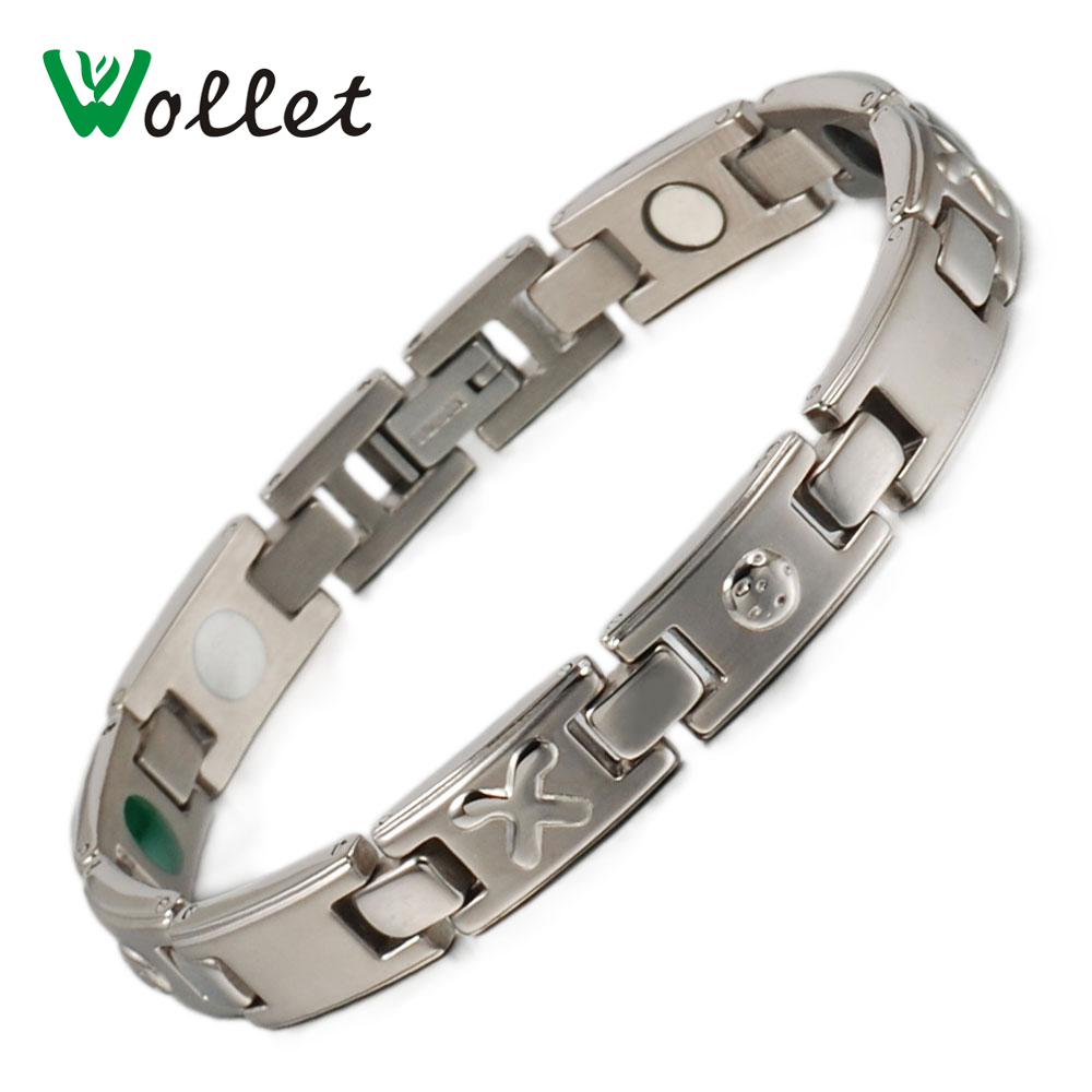 Wollet Jewelry 8mm Mens Chain Healing Energy Tourmaline Magnetic Germanium Pure Titanium Bracelet Bangle for Men Women