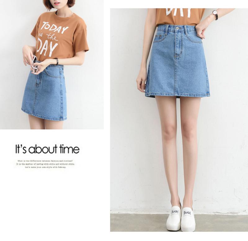 Lucyever Fashion Korean Summer Women Denim Skirt High Waist Black Mini Skirts Package Hip Blue Jeans Harajuku Plus Size Cotton 22