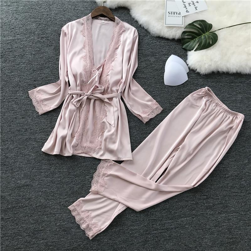 Satin Home Wear Female   Pajamas     Set   Casual Sleepwear Suit Sexy 3PCS Strap Top&Pants&Robe Pink Nightwear Kimono Bathrobe Gown