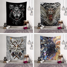 Fashion Cool Animals Wolf Owls Deer Colored Printed Witchcraft Decorative Hippie Mandala Macrame Bohemian Wall Hanging Tapestry