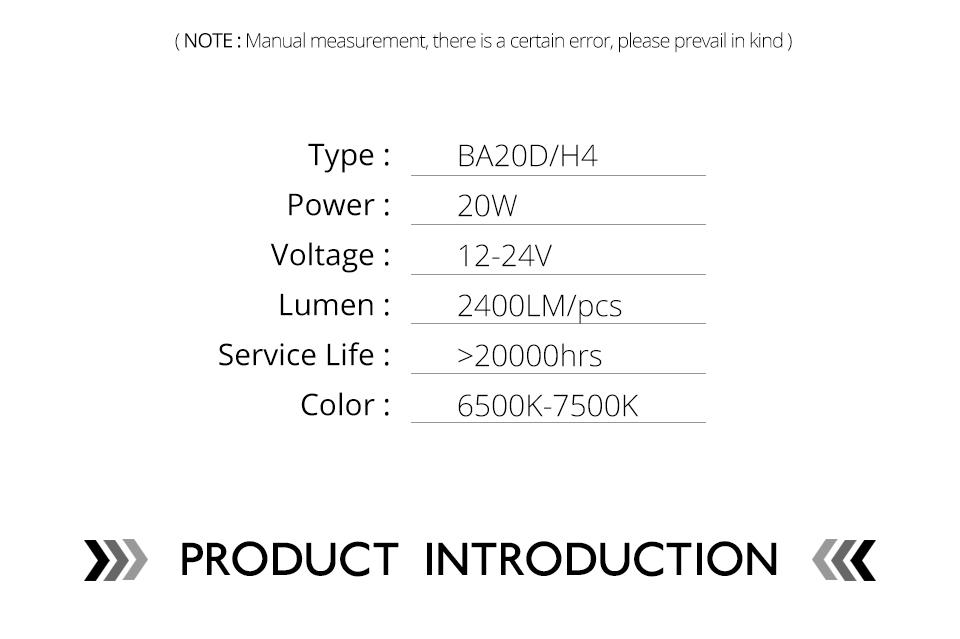 VooVoo H4 LED Motorcycle Lights BA20D LED Moto Headlight Bulbs 2400LM 6000K 20W HS1 Led Motorbike Electric Car Headlamp Lighting (3)