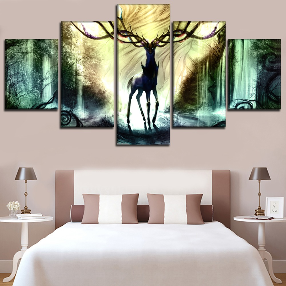Home Decorative Living Room Modular Pictures 5 Panel Pokemon Deer Painting Framework Wall Art Canvas HD Printed Animation Poster in Painting Calligraphy from Home Garden