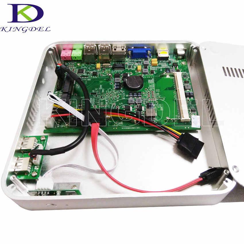 2017 barato Mini PC sin ventilador de escritorio Intel Celeron computadora 1007U 1017U 1037U Dual Core 2GB RAM 64GB SSD Wifi 1080P VGA caja de Metal
