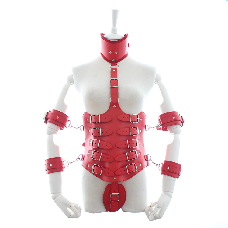 Hot quality red leather bondage harness sexy toys hand arm cuffs neck collar handcuffs bdsm restraints fetish wear for woman