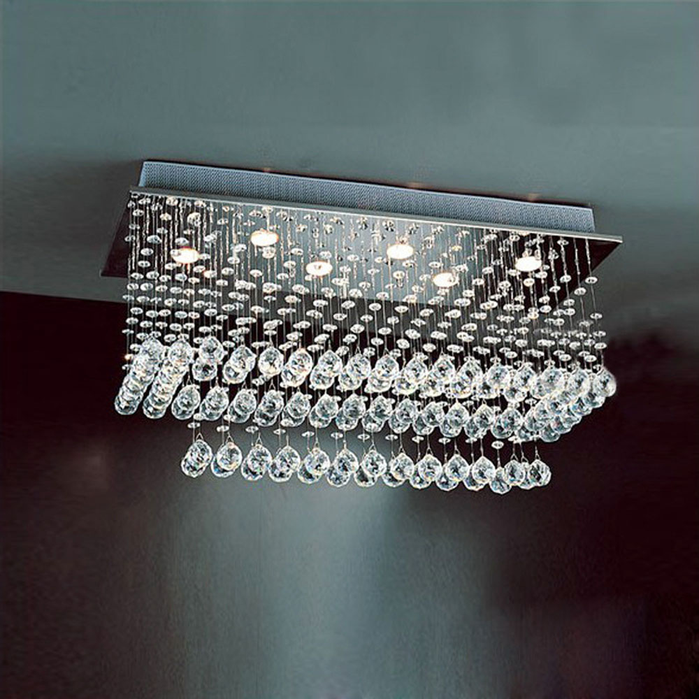 Rectangular crystal lamp fashion bedroom lights double living room LED ceiling lamp creative restaurant chandeliers led fixture
