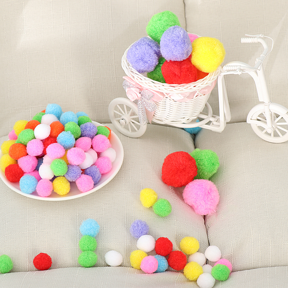100pcs/Pack Soft Party Festival DIY Craft Pompoms  Fluffy Balls Felt Card Cute Pattern DIY Creativity For Children Toy