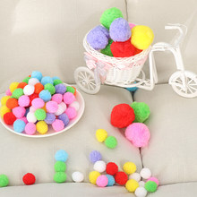 100pcs/Pack Soft Party Festival DIY Craft Pompoms Fluffy Balls Felt Card Cute Pattern DIY creativity for children Toy(China)