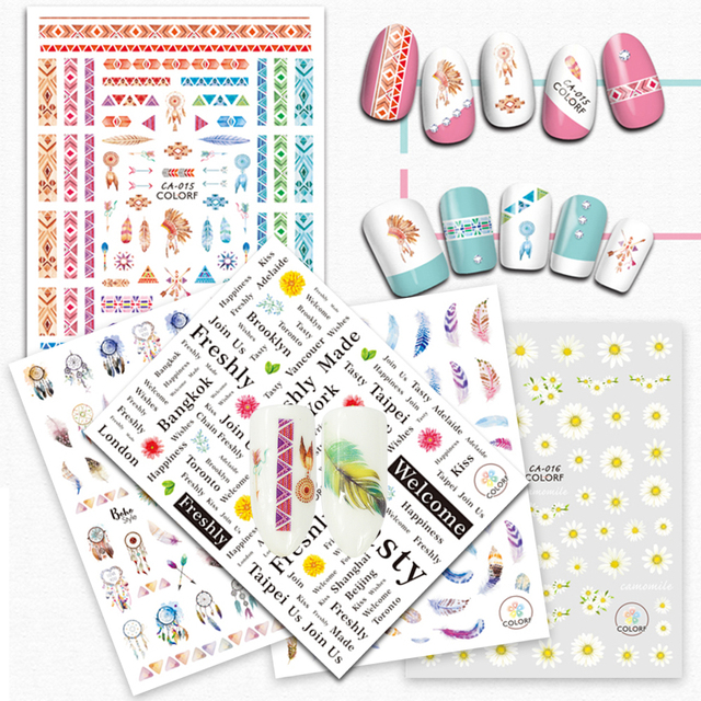 1pcs Colorful Sticker Nail Art 3D Letter Feather Designs Self Adhesive Decals Nail Sticker Nail Decor Manicure CHCA009-020