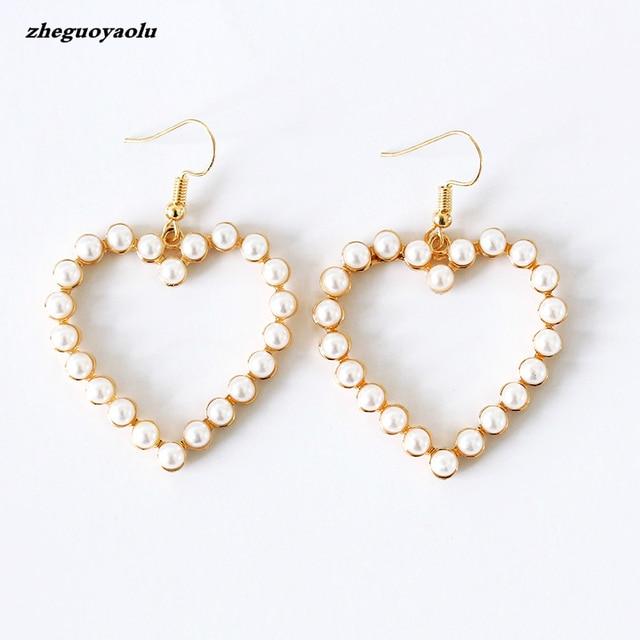 New Cute Retro Geometric Heart Shaped Love Peach Sweet Imitation Pearl Earrings For Women