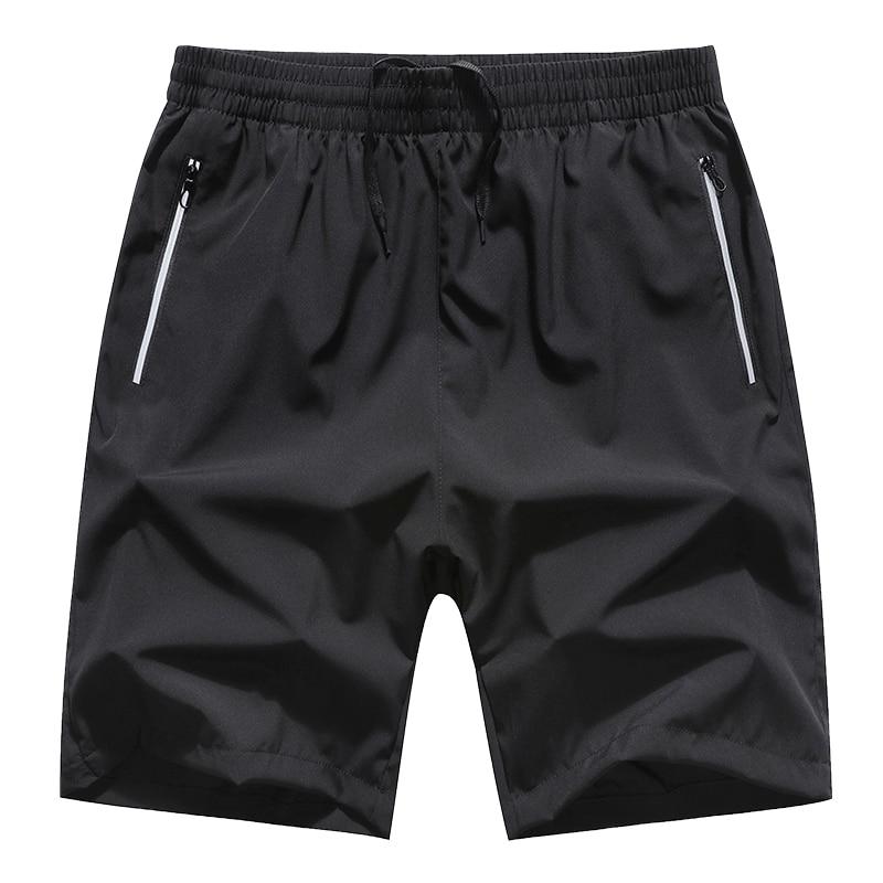 2020 Mens Shorts Black Solid Summer Quick Dry Clothing Elastic Waist Zipper Pocket Casual Hot Bermuda Male Plus Size Big 6XL 8XL