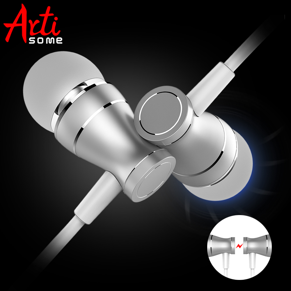 Artisome Earphones and Headphones Magnetic Wired Earbuds Stereo Noise Cancelling Earphone For Phone Volume Control wireless bluetooth sport earphone noise cancelling sweatproof earbuds magnetic earphones