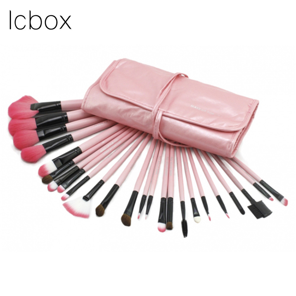LCBOX 24pcs Cosmetic Makeup Brushes Set Blusher Eyeshadow Powder Foundation Eyebrow Eyelash Lip Make Up Brush With Bag 7 pcs cosmetic face cream powder eyeshadow eyeliner makeup brushes set powder blusher foundation cosmetic tool drop shipping