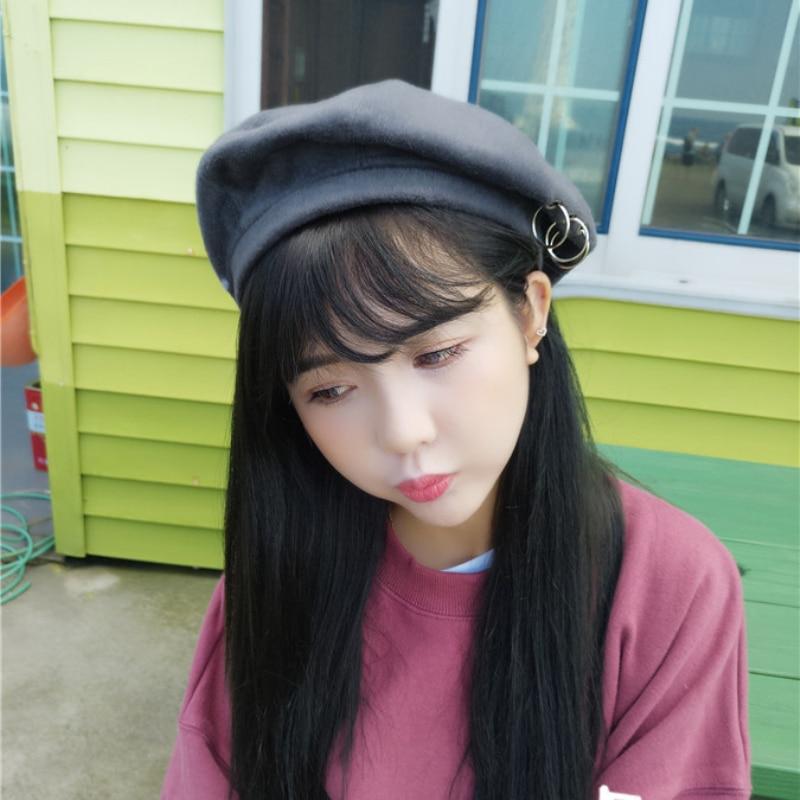 DT632 Kšiltovka nové ženy Beret Solid Colour Plain Zimní klobouky pro ženy Vlna Feel zimní Beret klobouk s kroužkem fape