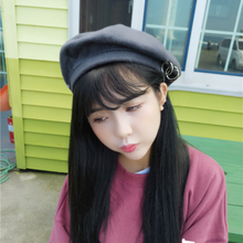 DT632 New Women Beret Hat Solid Color Plain Winter Hats for Wool Feel with Ring chapeu feminino casquette