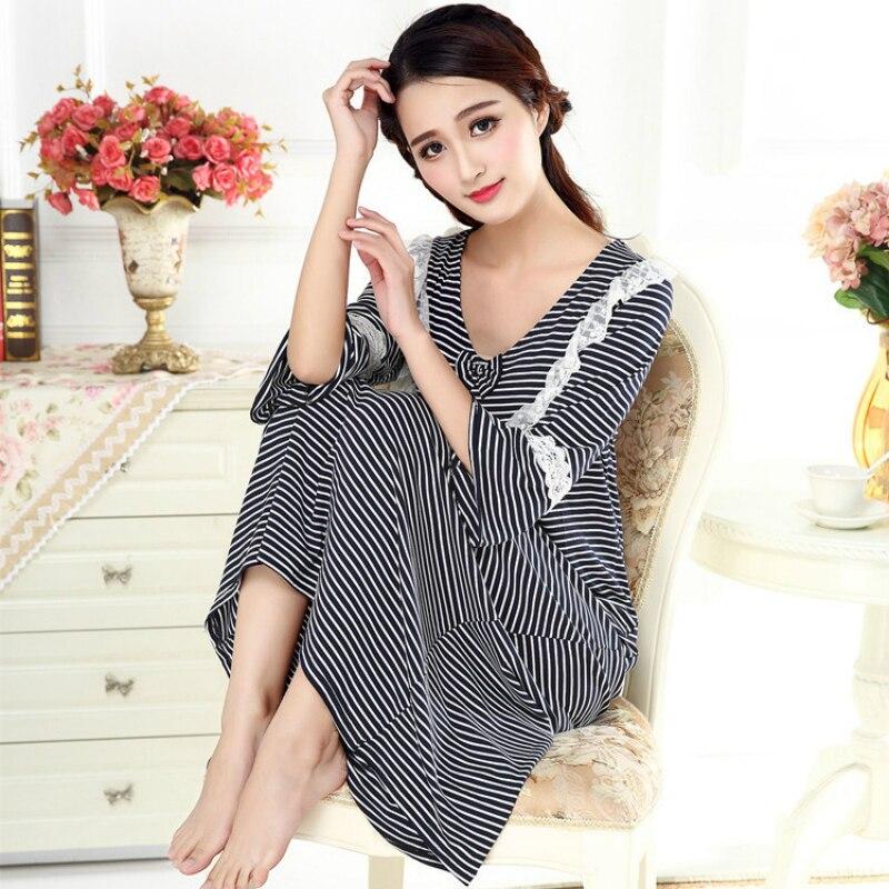 Princess Lace Stripe Sleeping Dress Modal Half women sexy nightwear V-Neck   sleepshirts   long sleepwear elegant night dress