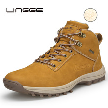 LINGGE Super Warm Men Winter Boots PU Leather Ankle Autumn Waterproof Snow Casual Mens Shoes 39-48