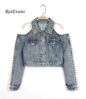 RosEvans 2017 Spring Women S Europe Punk Short Washed Jean Jacket Heavy Industry Off The Shoulder