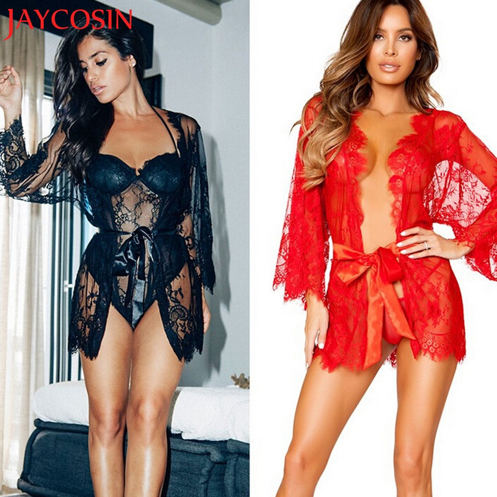 JAYCOSIN 2017 Summer Women Lingerie Babydoll Sexy Sleepwear Underwear Lace Coat Nightwear +G-string F8083 Free Shiping