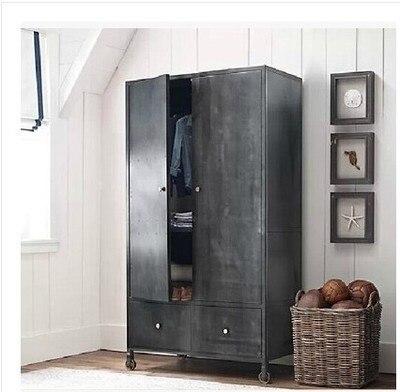 French Loft Iron Wheels Wrought Wardrobe Cabinet Large Closet Metal Bookcase Shelf