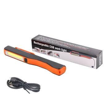 4 Colors USB Rechargeable COB Work Light Magnetic Rotation Hook Pen Flashlight COB LED Flashlight Mini Handy Torch +USB Cable