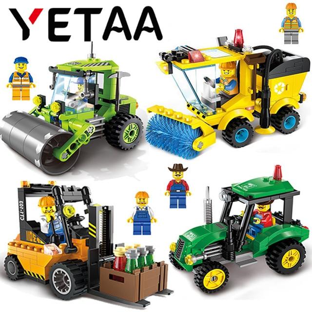 YETAA Cidade Educacional Blocos de Construção Série Vassoura Trator Empilhadeira Rolo de Estrada Modelo Minecraft Tijolos DIY Brinquedos Para Crianças