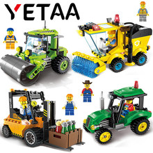 YETAA Educational City Series Building Blocks Sweeper Forklift Tractor Road Roller Bricks Model Minecraft DIY Toys For Children(China)