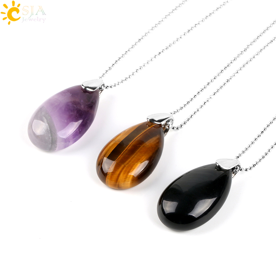 CSJA Natural Gem Stone Water Drop Necklaces Pendants Tiger Eye Lapis Lazuli Clear Crystal Opal Reiki Healing Jewellery Gift E526