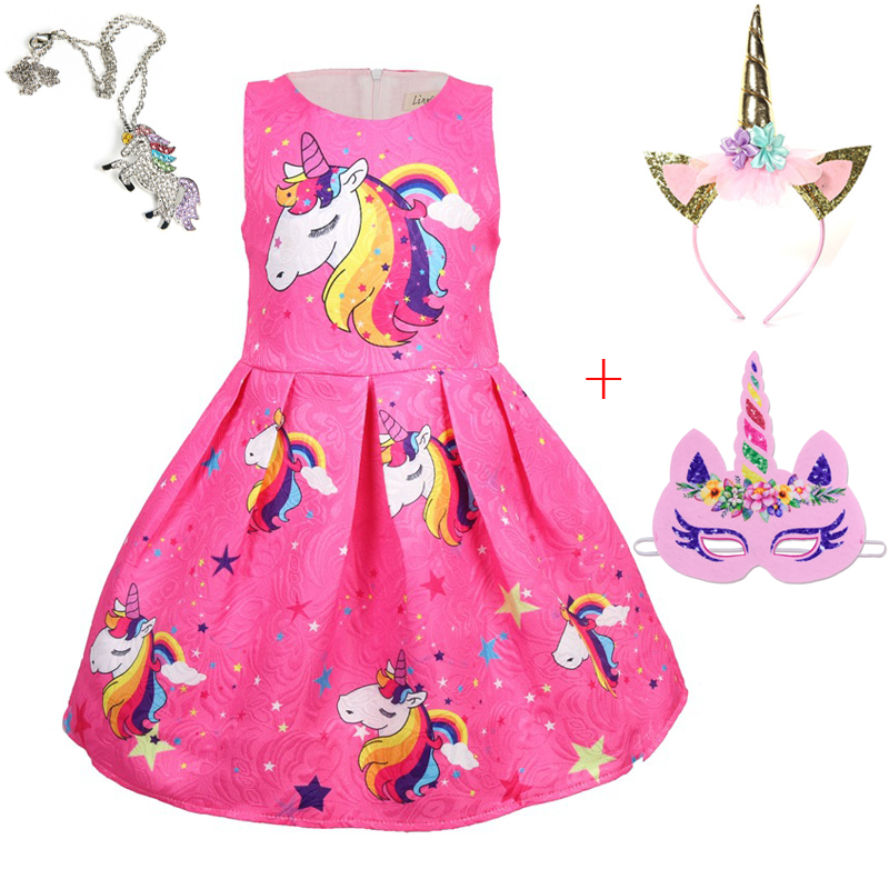 Baby Girls Dress Unicorn Costume for Kids Children Party Dresses flamingo Clothes kids Princess Dress unicornio vestido headband Детская кроватка