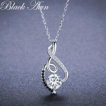 Трендовые женские ожерелья из серебра 925 пробы, подвески, ювелирные изделия черного цвета и ожерелье из белых камней, Женские Ювелирные изделия P081