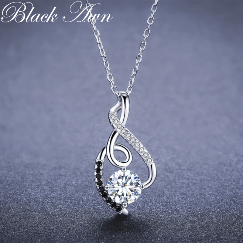 BLACK AWN Trendy Femme Genuine 100% 925 Sterling Silver Necklaces Pendants Jewelry Black&White Stone Necklace Women Bijoux P081