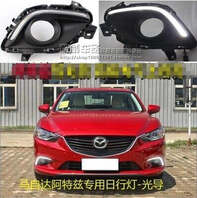 ФОТО Hireno Super-bright LED Daytime Running Light for Mazda 6 Mazda6 2015 2016 Car LED DRL fog lamp 2PCS