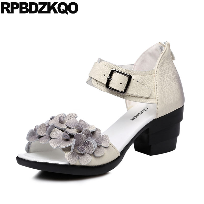 White Pumps Flower Open Toe Heels Chunky Ankle Strap Women Red Sandals Shoes Square Female Ethnic Summer 2018 High Thick Ladies summer new pointed thick chunky high heels closed toe pumps with buckle ankle wraps sweet sandals women pink black gray 34 40