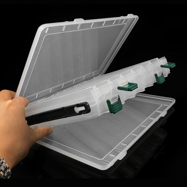 Double Sided 14 Compartments Fishing Lure Tackle Box Transparent Plastic Hook Rig Bait Storage Case Fish Tool Box Organizer|Fishing Tackle Boxes| |  - title=