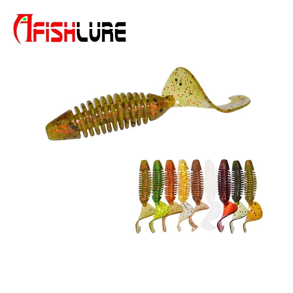 "SOFT PLASTIC 3/"" FLOR ORANGE W//GLITTER CURL TAIL GRUB FISH BAIT USA MADE 30 PCS."