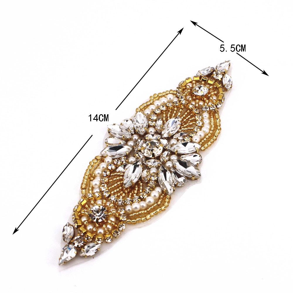 1 PCS Gold Rhinestone Appliques For Wedding Belt Shoes Jacket Jewelry DIYl Sew On Rhinestone Appliques Bridal Accessories