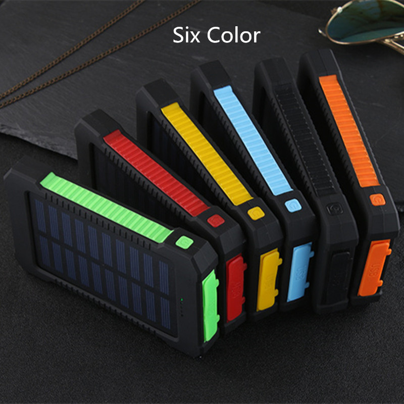 Hot Top Solar Power Bank Waterproof 30000mAh Solar Charger 2 USB Ports External Charger Powerbank for Xiaomi note8 for i7 18650