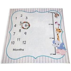 Image 2 - Ylsteed Baby Milestone ผ้าห่มเด็กแรกเกิด Photo Props แผนภูมิความสูงสัตว์พิมพ์ผ้าห่มเด็กทารกแรกเกิดถ่ายภาพพื้นหลัง