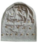 B 17905 Fashion 100 Cotton Good Stretchy Square Stud Beanies Gold Spike Pearl Punk Hat Solid