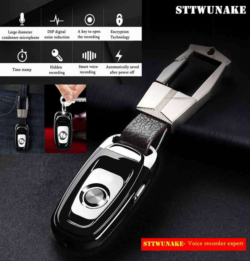 STTWUNAKE mini key hidden voice recorder Professional Digital 8GB HD noise reduction Time stamp Spy voice recordeing