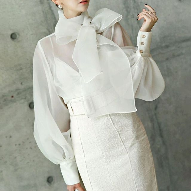 2019 womens sexy tops cleavage elegant queen bow European bubble lantern sleeves perspective organza shirt dress
