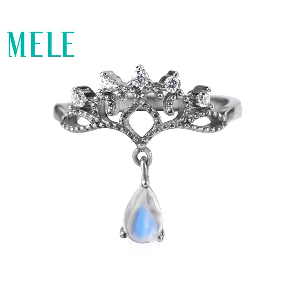 Pierre de lune naturelle 925 anneaux en argent sterling pour femmes et filles, couleur bleue 4mm X 6mm couronne larmes forme pierre fine simple bijoux