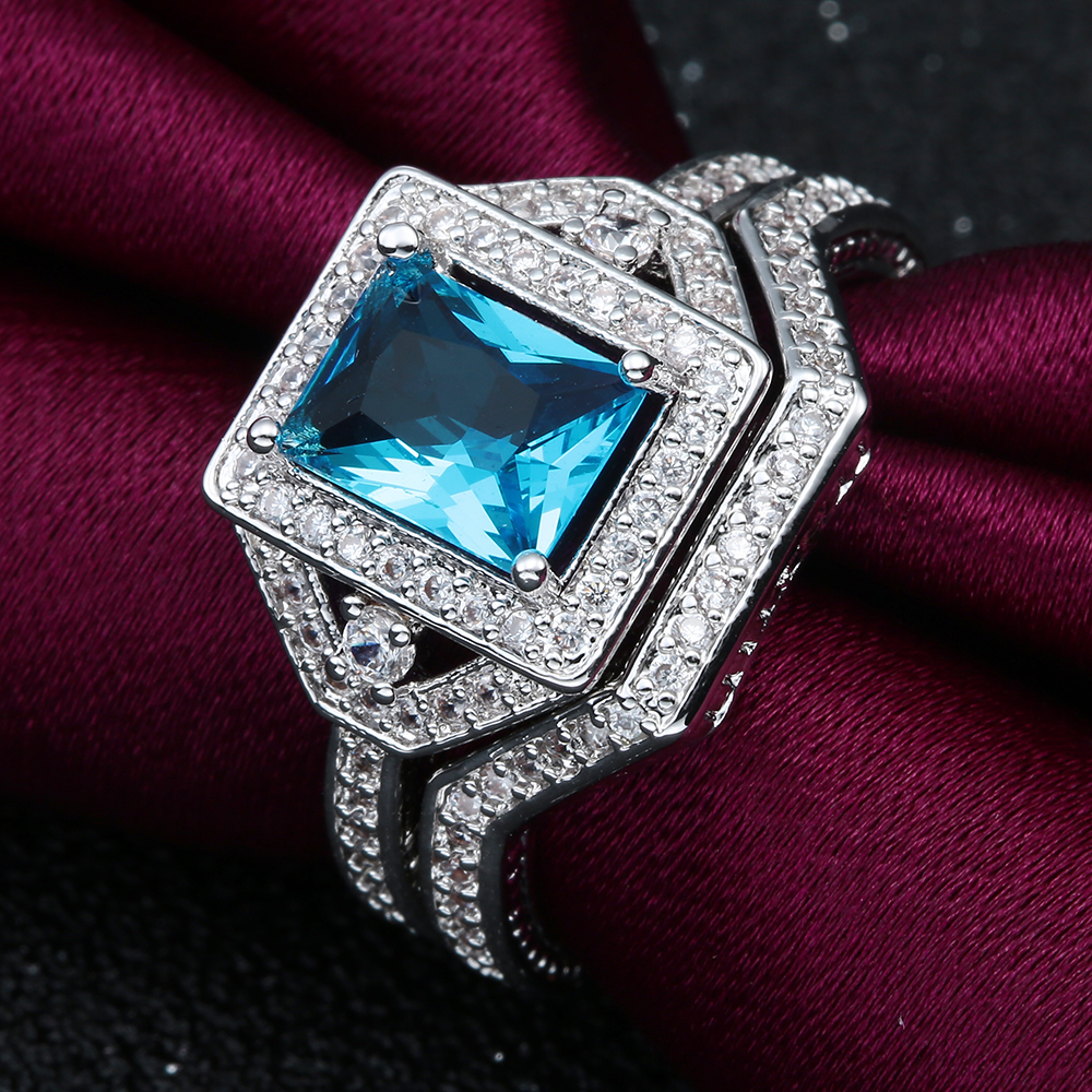 2017 Fashion promise Ring 2pc romantic love jewelry drop shipping princess blue Cubic Zircon finger Engagement Ring Sets