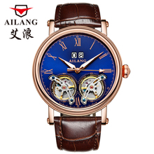 купить 2016 luxury brand AILANG automatic mechanical watches Mens Waterproof double Tourbillon watch blue leather calendar дешево