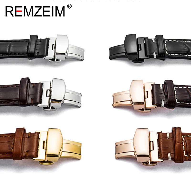 Butterfly Deployment Watch Band Buckle Double Push Button 16 18 20 22 24mm Black Rose Gold Silver Buckle Strap Accessories
