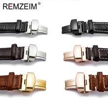 Pulseira de relógio borboleta, fecho de botão duplo, 16 18 20 22 24mm, preto, rosa, dourado, prata, pulseira de fivela acessórios