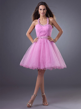 2016 Simple Lila A-linie Kurze Junioren Homecoming Kleider Neckholder Ballkleid Knielangen Short Prom Cocktailkleider gd7707